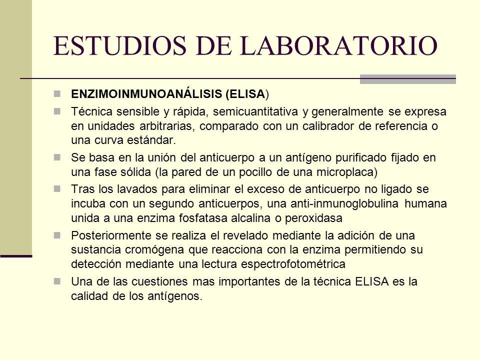 ESTUDIOS DE LABORATORIO ENZIMOINMUNOANÁLISIS (ELISA) Técnica sensible y rápida, semicuantitativa y generalmente se expresa en unidades arbitrarias, co