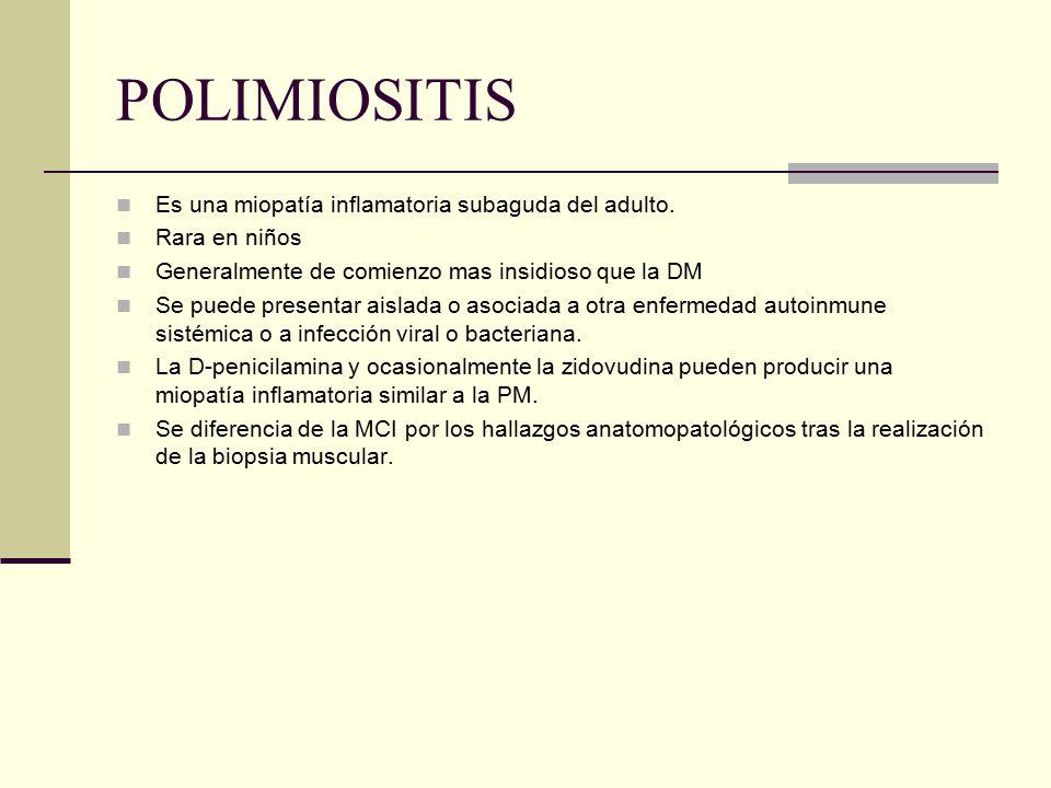 POLIMIOSITIS Es una miopatía inflamatoria subaguda del adulto. Rara en niños Generalmente de comienzo mas insidioso que la DM Se puede presentar aisla