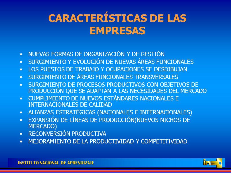 INSTITUTO NACIONAL DE APRENDIZAJE NUEVO PERFIL PROFESIONAL DE LOS TRABAJADORES MAYORES ESTÁNDARES DE DESEMPEÑO INDIVIDUAL Y COLECTIVO FLEXIBILIDAD Y POLIFUNCIONALIDAD PARA DIFERENTES PROCESOS, ÁREAS FUNCIONALES Y SUBSECTORES PRODUCTIVOS DESARROLLO DE COMPETENCIAS: –TOMA DE DECISIONES INDIVIDUALES Y COLECTIVAS –ADAPTACIÓN A LOS CAMBIOS TECNOLÓGICOS DE LAS EMPRESAS –RESOLUCIÓN DE PROBLEMAS EN FORMA AUTÓNOMA Y COLECTIVA –COMPRENSIÓN DEL ENTORNO ORGANIZACIONAL DE LA EMPRESA –CAPACIDAD PARA DISEÑAR NUEVOS PROCEDIMIENTOS Y FORMAS DE TRABAJO –CAPACIDAD DE COMUNICACIÓN ORAL Y ESCRITA –CAPACIDAD DE INNOVACIÓN, PARTICIPACIÓN, AUTOCONTROL AUTOAPRENDIZAJE Y LIDERAZGO