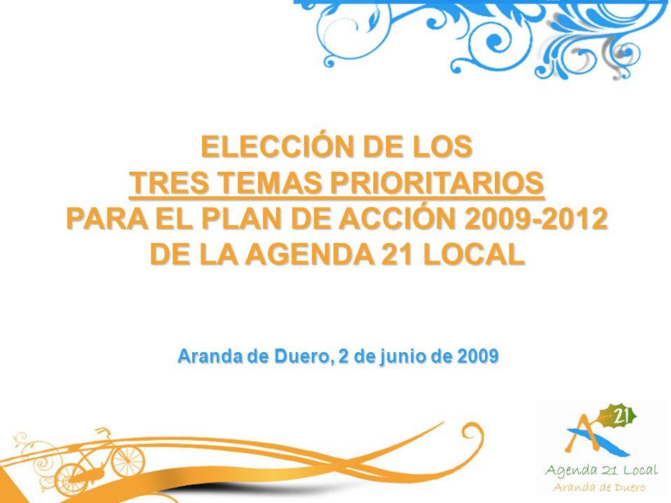 ELECCIÓN DE LOS TRES TEMAS PRIORITARIOS PARA EL PLAN DE ACCIÓN 2009-2012 DE LA AGENDA 21 LOCAL Aranda de Duero, 2 de junio de 2009