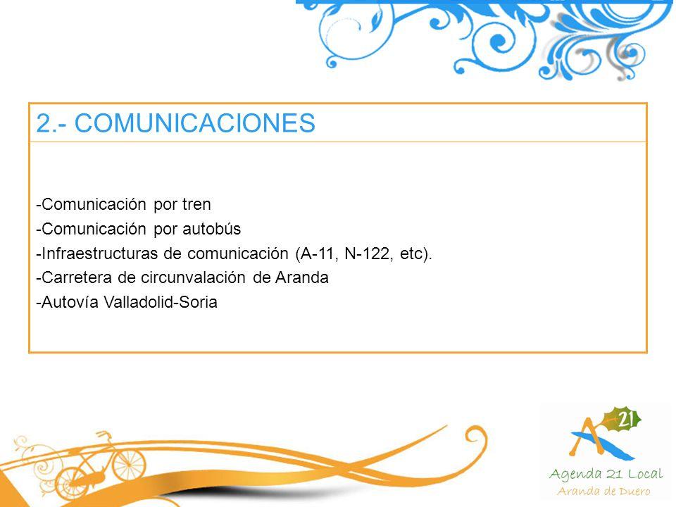 2.- COMUNICACIONES -Comunicación por tren -Comunicación por autobús -Infraestructuras de comunicación (A-11, N-122, etc).