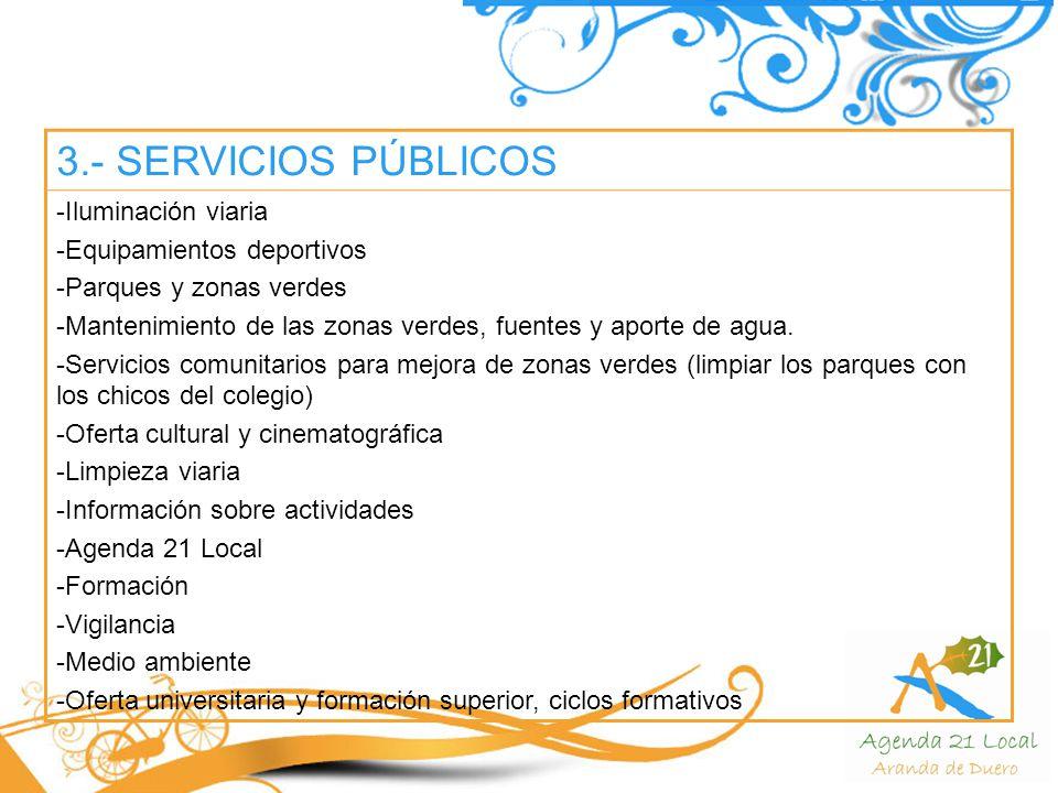3.- SERVICIOS PÚBLICOS -Iluminación viaria -Equipamientos deportivos -Parques y zonas verdes -Mantenimiento de las zonas verdes, fuentes y aporte de agua.