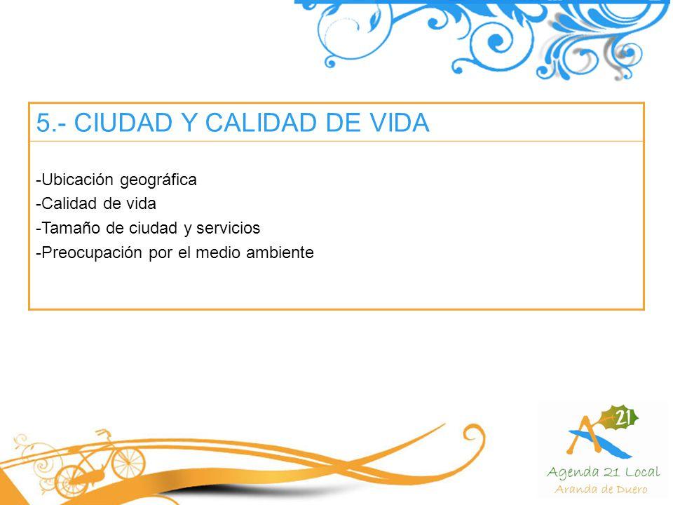 5.- CIUDAD Y CALIDAD DE VIDA -Ubicación geográfica -Calidad de vida -Tamaño de ciudad y servicios -Preocupación por el medio ambiente