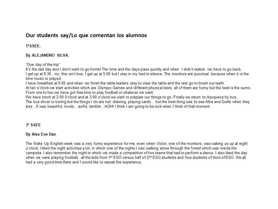 Our students say/Lo que comentan los alumnos 1ºSSEE.