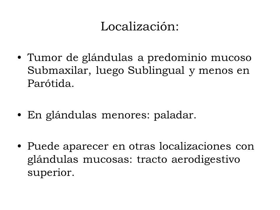 Localización: Tumor de glándulas a predominio mucoso Submaxilar, luego Sublingual y menos en Parótida. En glándulas menores: paladar. Puede aparecer e