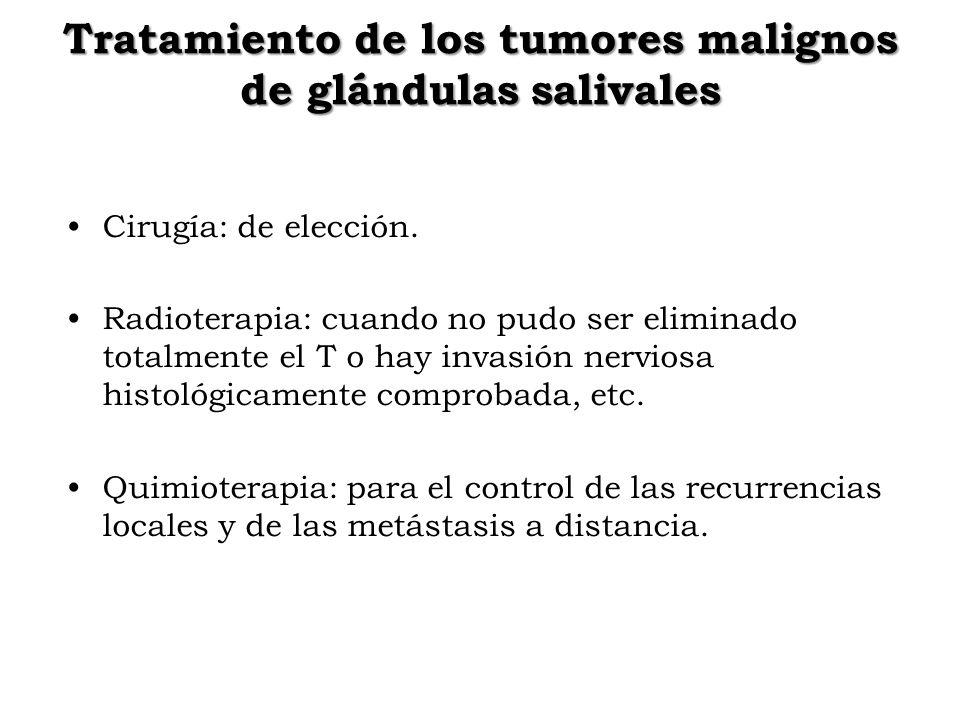 Tratamiento de los tumores malignos de glándulas salivales Cirugía: de elección. Radioterapia: cuando no pudo ser eliminado totalmente el T o hay inva