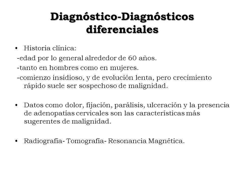 Diagnóstico-Diagnósticos diferenciales Historia clínica: -edad por lo general alrededor de 60 años. -tanto en hombres como en mujeres. -comienzo insid