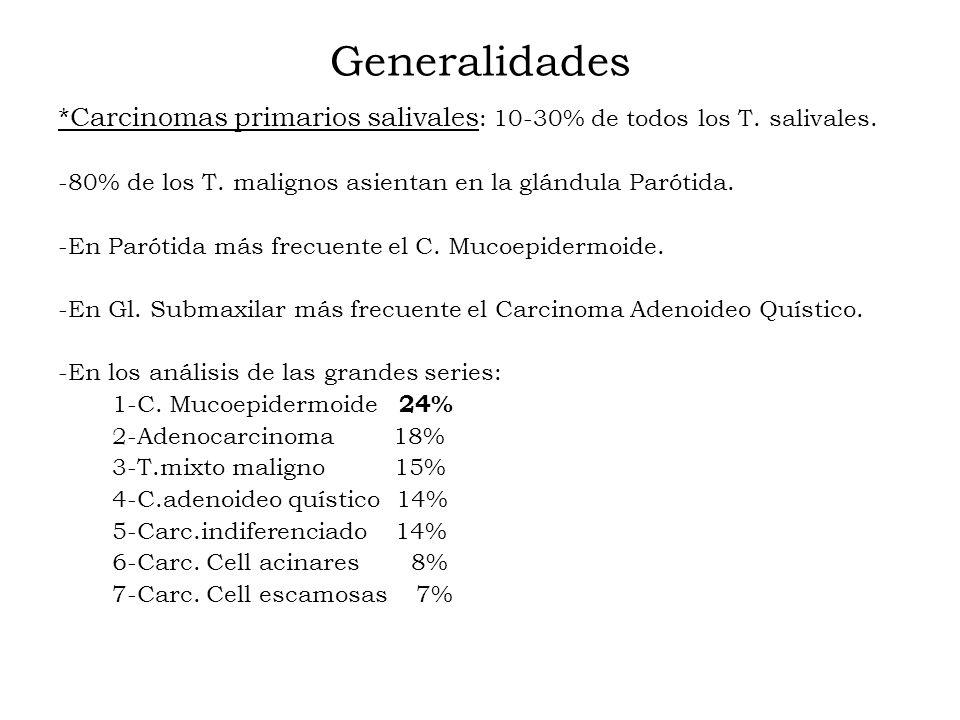 Generalidades *Carcinomas primarios salivales : 10-30% de todos los T. salivales. -80% de los T. malignos asientan en la glándula Parótida. -En Paróti