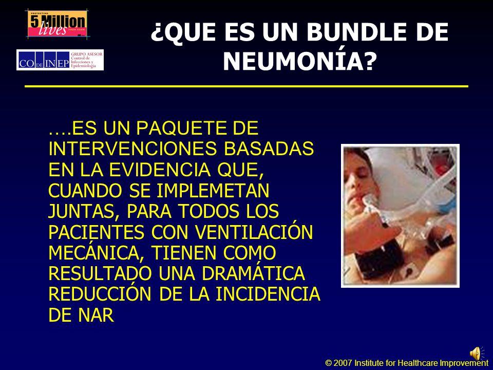 © 2007 Institute for Healthcare Improvement ¿QUE ES UN BUNDLE DE NEUMONÍA.