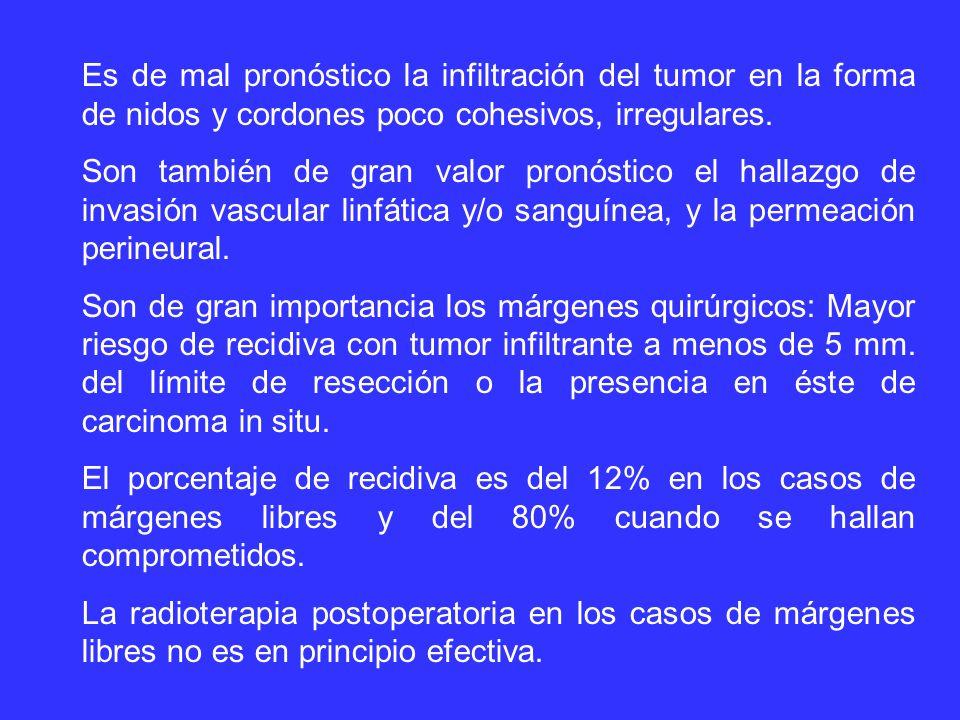 Es de mal pronóstico la infiltración del tumor en la forma de nidos y cordones poco cohesivos, irregulares.