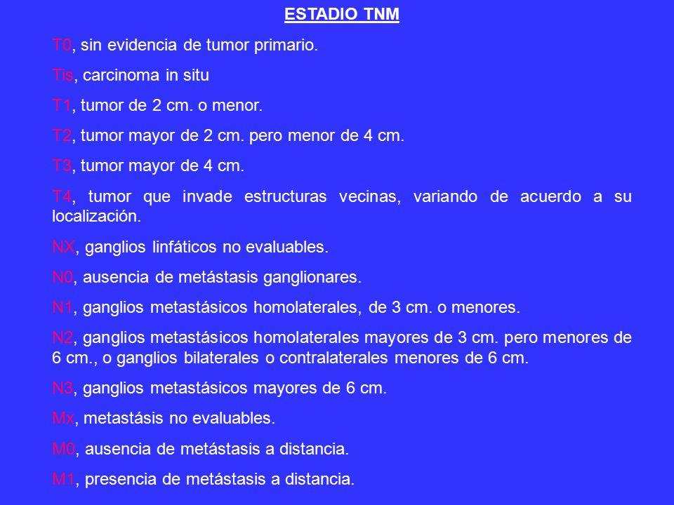 ESTADIO TNM T0, sin evidencia de tumor primario.Tis, carcinoma in situ T1, tumor de 2 cm.