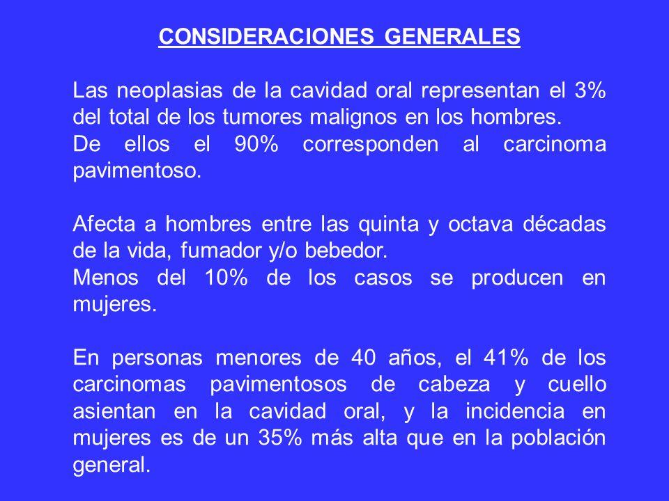 CONSIDERACIONES GENERALES Las neoplasias de la cavidad oral representan el 3% del total de los tumores malignos en los hombres.