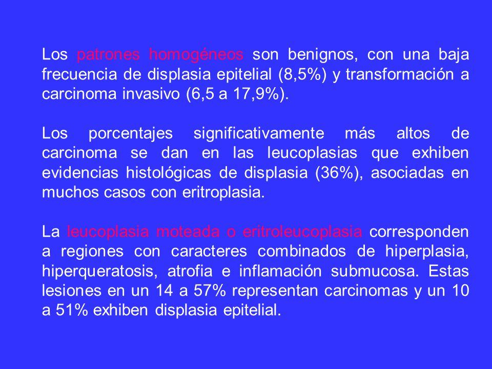 Los patrones homogéneos son benignos, con una baja frecuencia de displasia epitelial (8,5%) y transformación a carcinoma invasivo (6,5 a 17,9%).