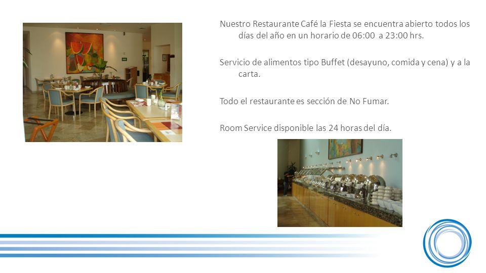Nuestro Restaurante Café la Fiesta se encuentra abierto todos los días del año en un horario de 06:00 a 23:00 hrs.