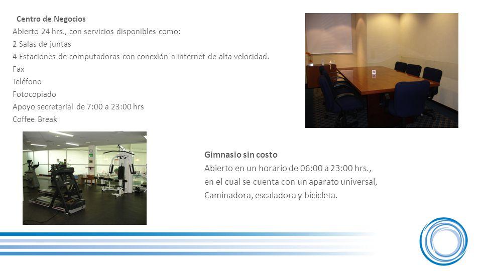 Centro de Negocios Abierto 24 hrs., con servicios disponibles como: 2 Salas de juntas 4 Estaciones de computadoras con conexión a internet de alta velocidad.
