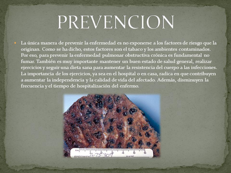 La única manera de prevenir la enfermedad es no exponerse a los factores de riesgo que la originan.