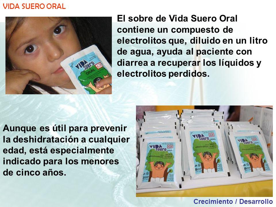 VIDA SUERO ORAL Crecimiento / Desarrollo El sobre de Vida Suero Oral contiene un compuesto de electrolitos que, diluido en un litro de agua, ayuda al paciente con diarrea a recuperar los líquidos y electrolitos perdidos.