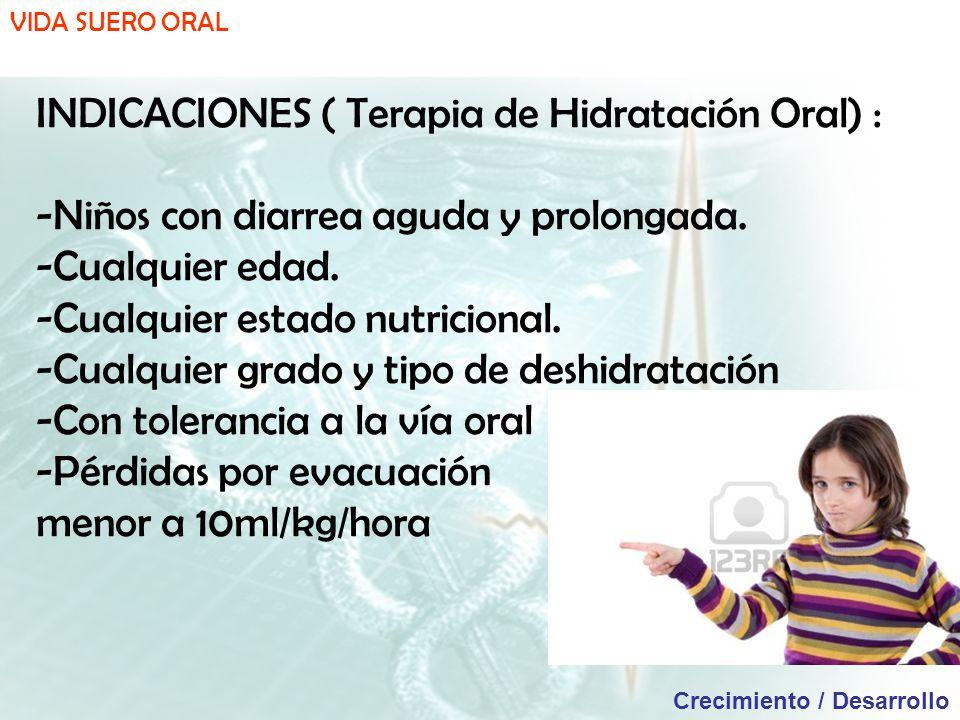 VIDA SUERO ORAL Crecimiento / Desarrollo INDICACIONES ( Terapia de Hidratación Oral) : -Niños con diarrea aguda y prolongada.