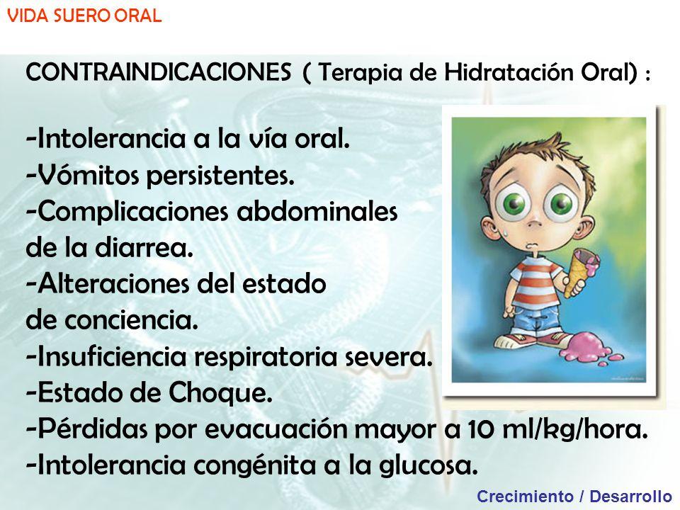 VIDA SUERO ORAL Crecimiento / Desarrollo CONTRAINDICACIONES ( Terapia de Hidratación Oral) : -Intolerancia a la vía oral.