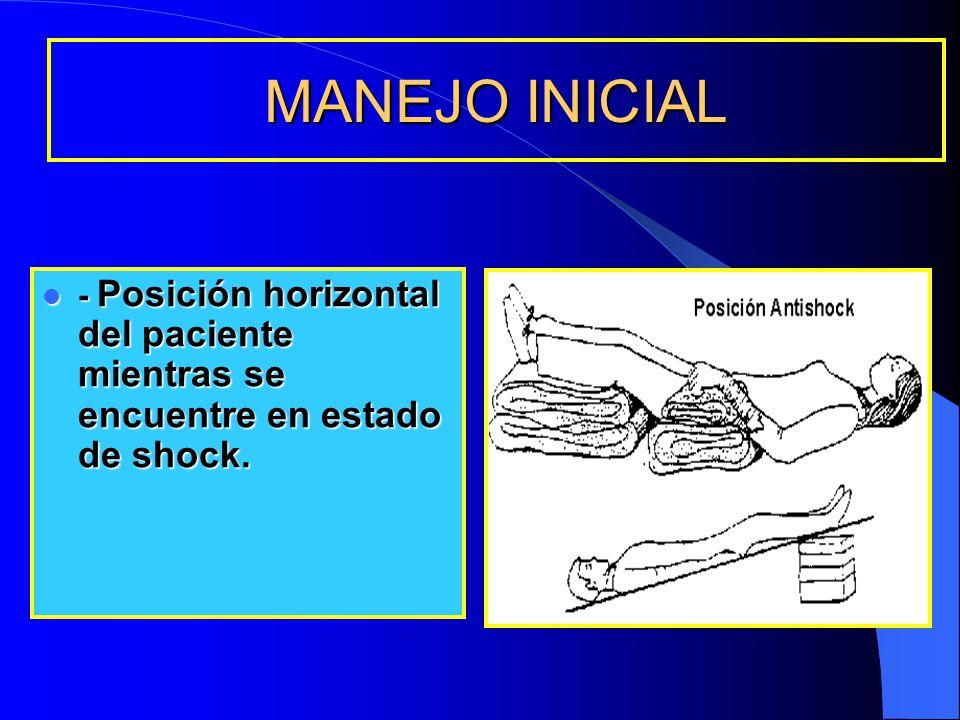 MANEJO INICIAL - Posición horizontal del paciente mientras se encuentre en estado de shock. - Posición horizontal del paciente mientras se encuentre e