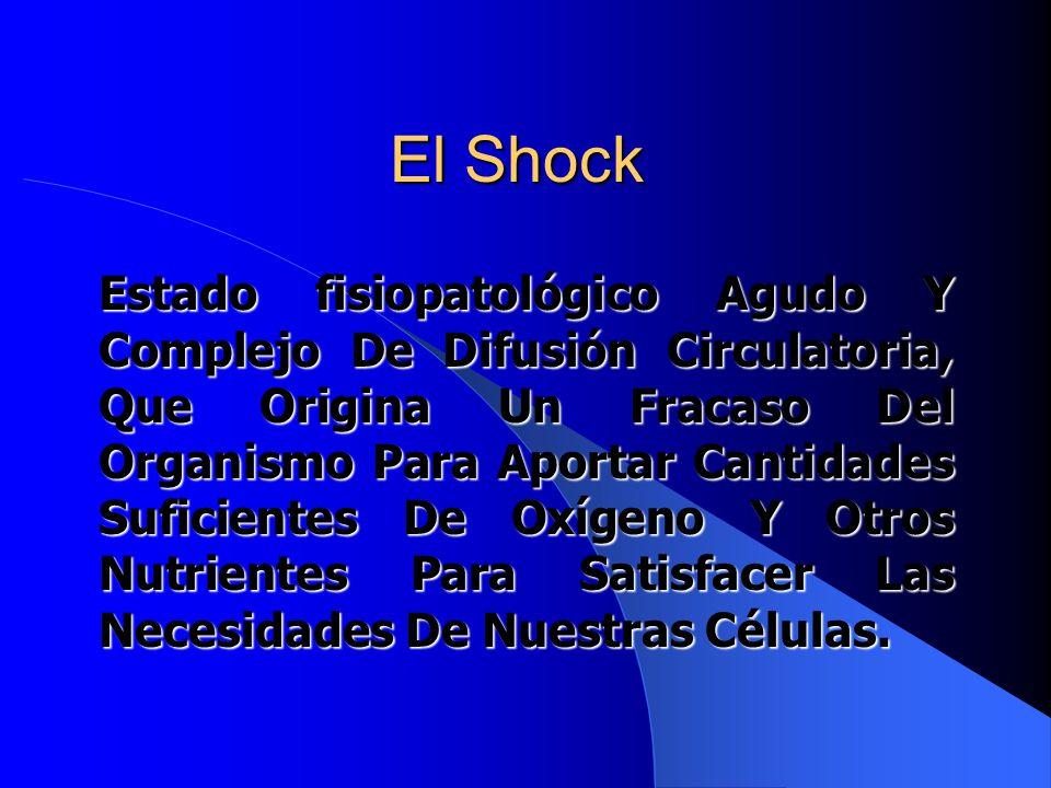 El Shock Estado fisiopatológico Agudo Y Complejo De Difusión Circulatoria, Que Origina Un Fracaso Del Organismo Para Aportar Cantidades Suficientes De