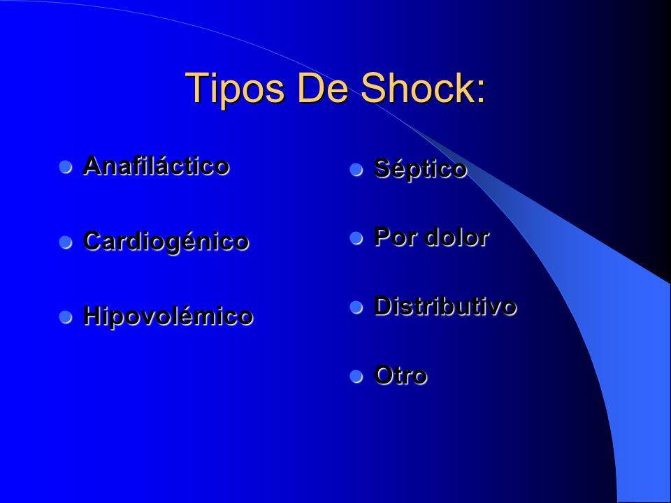 Tipos De Shock: Anafiláctico Anafiláctico Cardiogénico Cardiogénico Hipovolémico Hipovolémico Séptico Séptico Por dolor Por dolor Distributivo Distrib