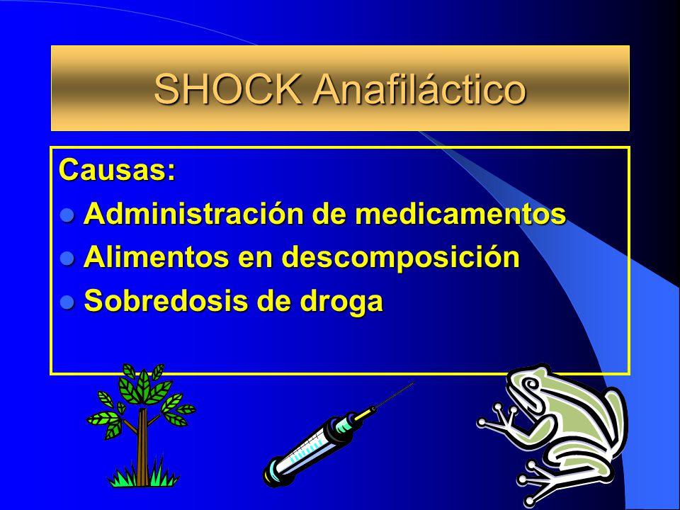 SHOCK Anafiláctico Causas: Administración de medicamentos Administración de medicamentos Alimentos en descomposición Alimentos en descomposición Sobre