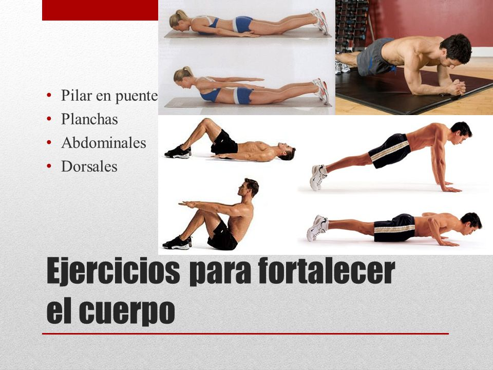 Ejercicios para fortalecer el cuerpo Pilar en puente Planchas Abdominales Dorsales