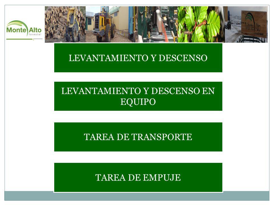 LEVANTAMIENTO Y DESCENSO LEVANTAMIENTO Y DESCENSO EN EQUIPO TAREA DE TRANSPORTE TAREA DE EMPUJE