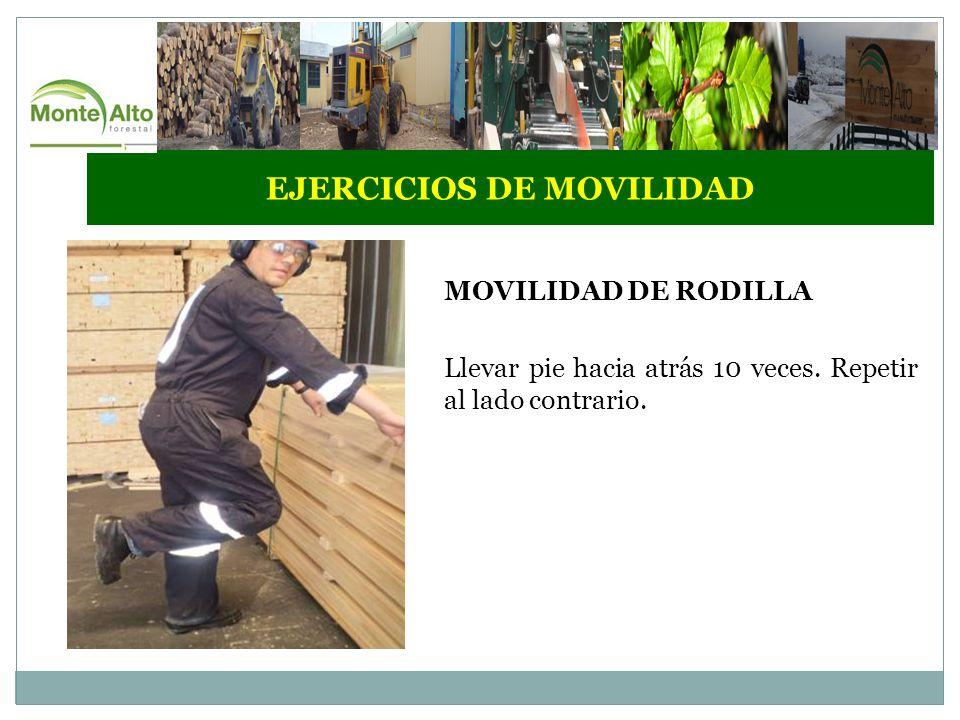EJERCICIOS DE MOVILIDAD MOVILIDAD DE RODILLA Llevar pie hacia atrás 10 veces.