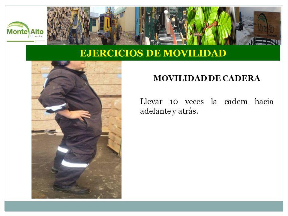EJERCICIOS DE MOVILIDAD MOVILIDAD DE CADERA Llevar 10 veces la cadera hacia adelante y atrás.