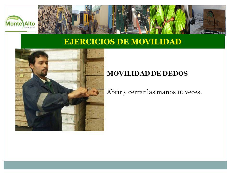 EJERCICIOS DE MOVILIDAD MOVILIDAD DE DEDOS Abrir y cerrar las manos 10 veces.