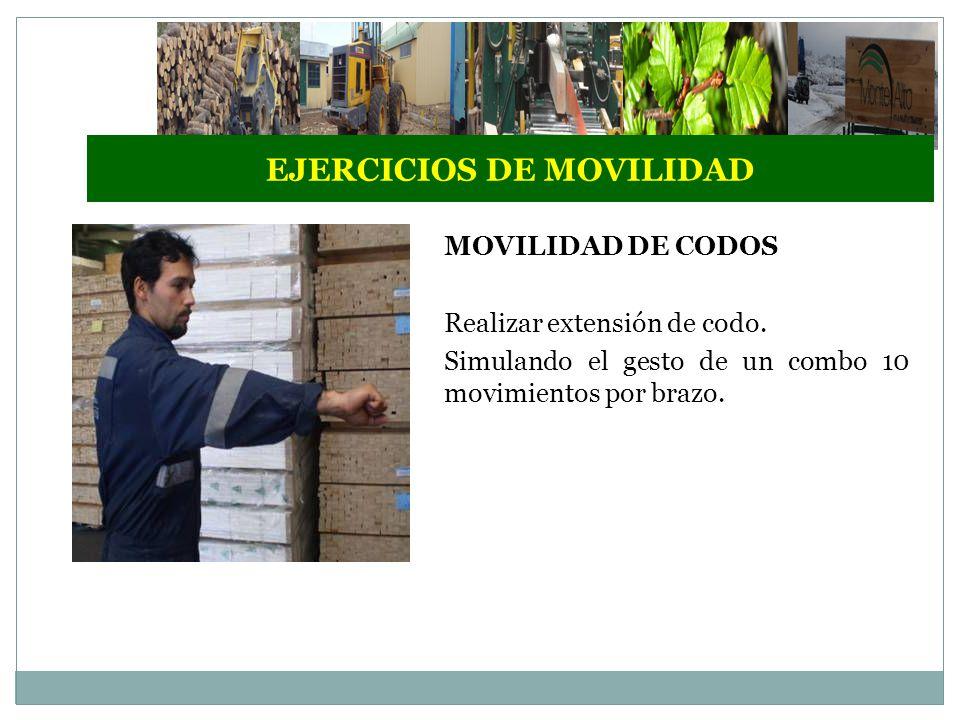 EJERCICIOS DE MOVILIDAD MOVILIDAD DE CODOS Realizar extensión de codo.