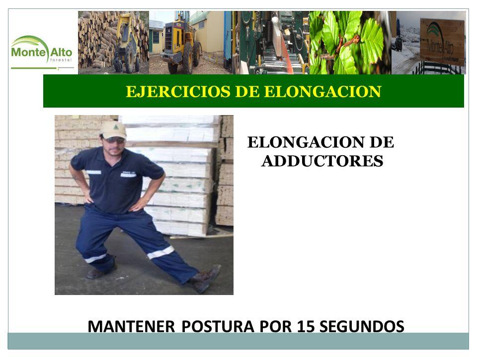 EJERCICIOS DE ELONGACION ELONGACION DE ADDUCTORES MANTENER POSTURA POR 15 SEGUNDOS