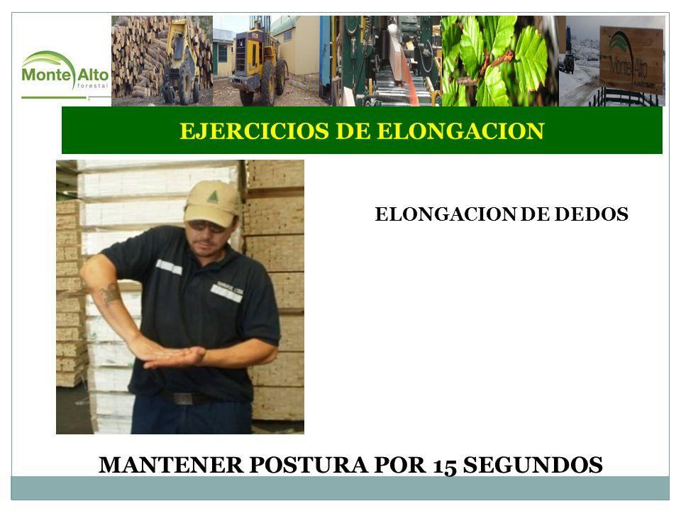 EJERCICIOS DE ELONGACION ELONGACION DE DEDOS MANTENER POSTURA POR 15 SEGUNDOS