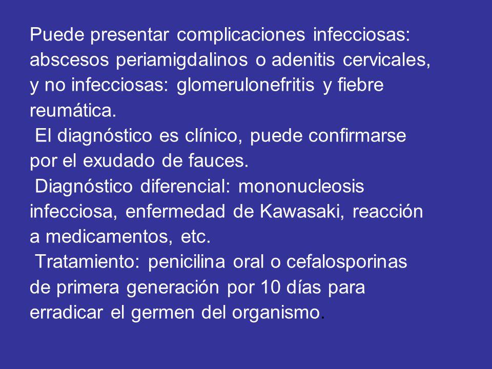 Puede presentar complicaciones infecciosas: abscesos periamigdalinos o adenitis cervicales, y no infecciosas: glomerulonefritis y fiebre reumática. El
