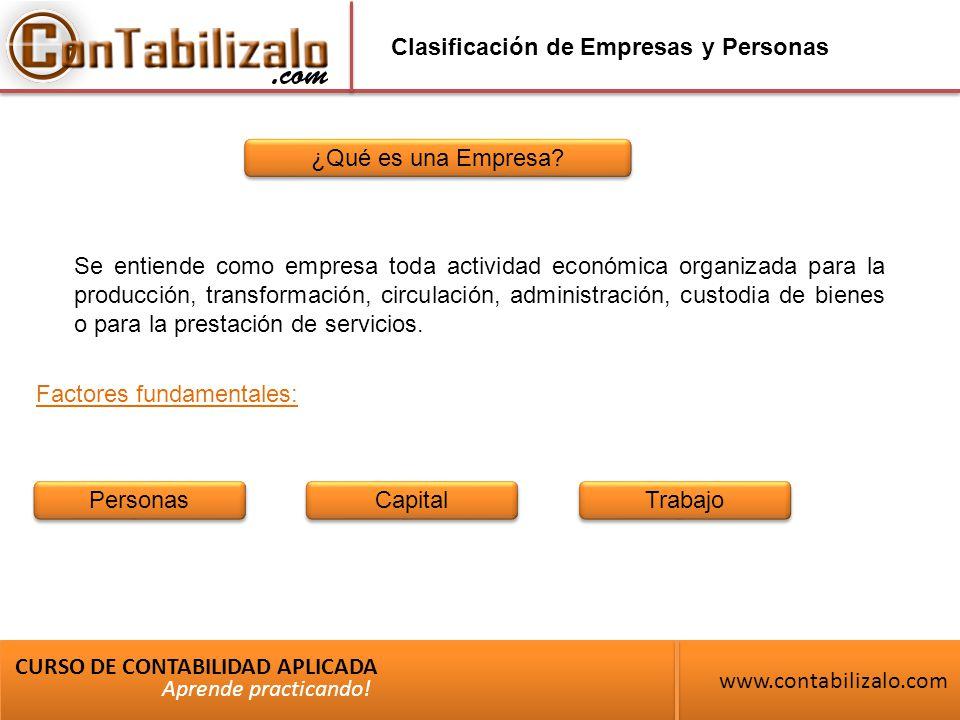 Clasificación de Empresas y Personas ¿Qué es una Empresa.