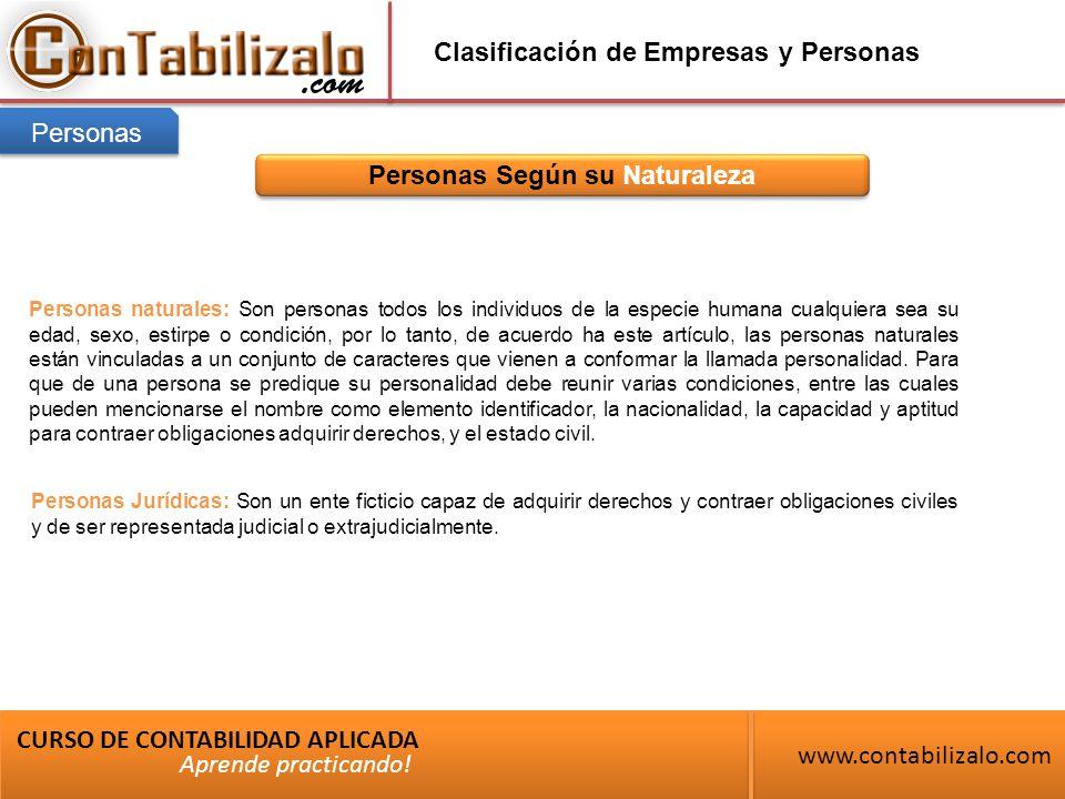 Clasificación de Empresas y Personas Personas Según su Naturaleza CURSO DE CONTABILIDAD APLICADA www.contabilizalo.com Aprende practicando.