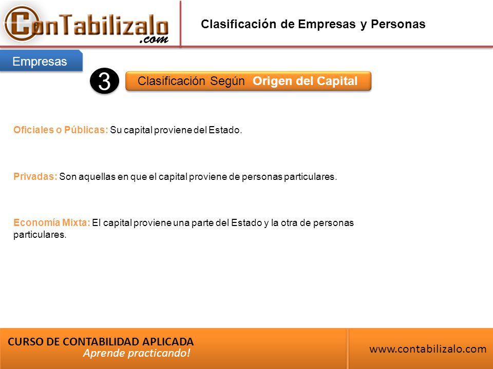 Clasificación de Empresas y Personas Clasificación Según Origen del Capital CURSO DE CONTABILIDAD APLICADA www.contabilizalo.com Aprende practicando.