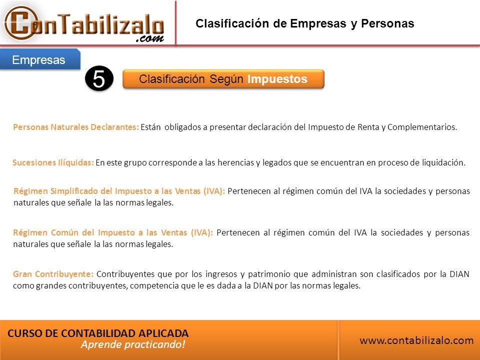 Clasificación de Empresas y Personas Clasificación Según Impuestos CURSO DE CONTABILIDAD APLICADA www.contabilizalo.com Aprende practicando.