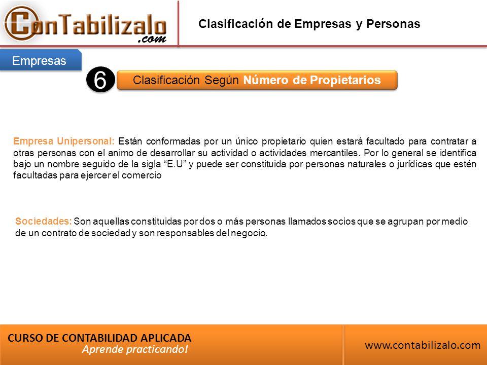 Clasificación de Empresas y Personas Clasificación Según Número de Propietarios CURSO DE CONTABILIDAD APLICADA www.contabilizalo.com Aprende practicando.