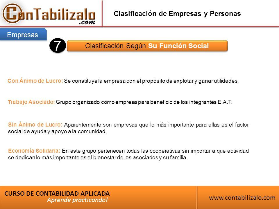 Clasificación de Empresas y Personas Clasificación Según Su Función Social CURSO DE CONTABILIDAD APLICADA www.contabilizalo.com Aprende practicando.