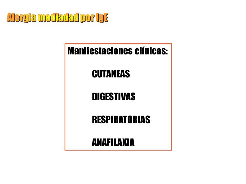Manifestaciones clínicas: CUTANEAS DIGESTIVAS RESPIRATORIAS ANAFILAXIA
