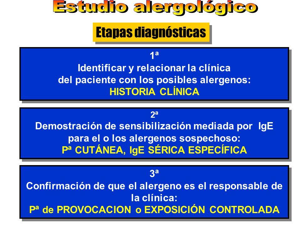1ª Identificar y relacionar la clínica del paciente con los posibles alergenos: HISTORIA CLÍNICA 1ª Identificar y relacionar la clínica del paciente c