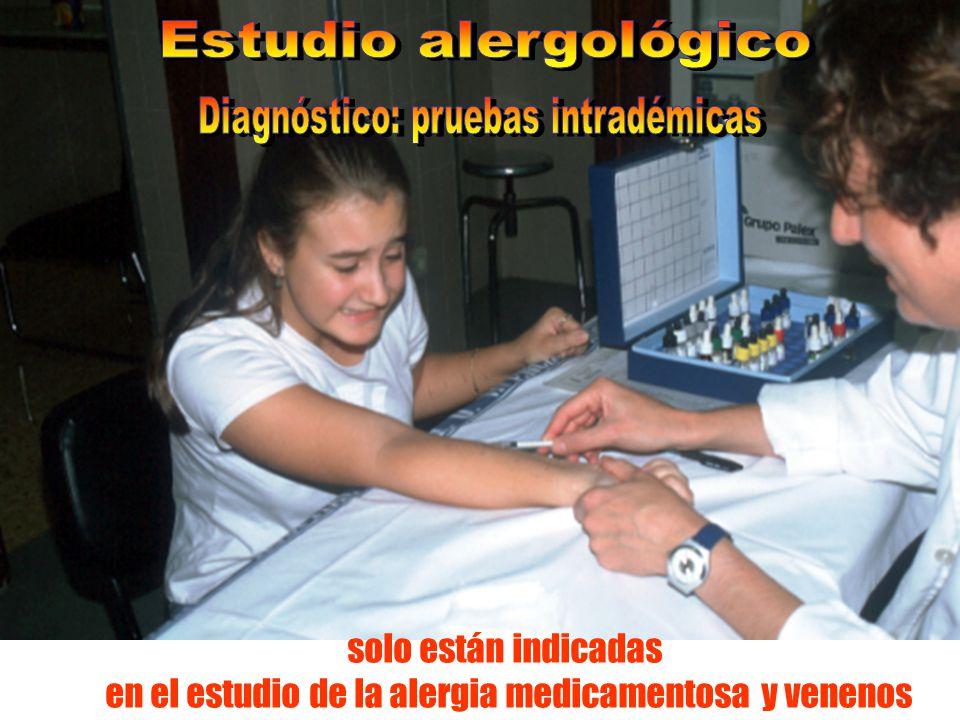 solo están indicadas en el estudio de la alergia medicamentosa y venenos