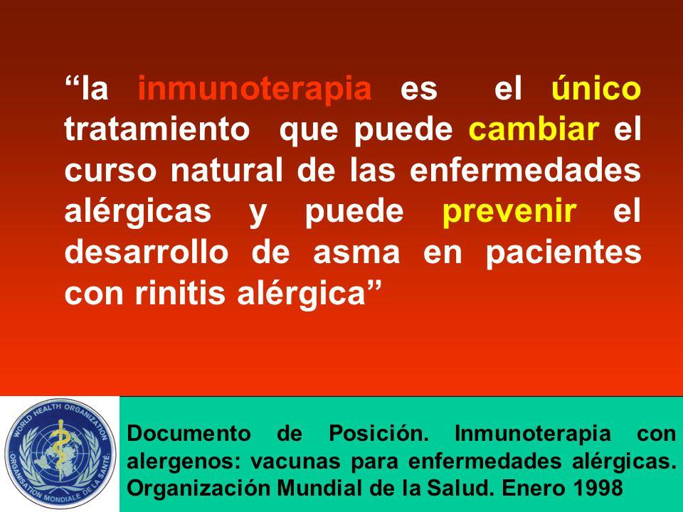 """""""la inmunoterapia es el único tratamiento que puede cambiar el curso natural de las enfermedades alérgicas y puede prevenir el desarrollo de asma en p"""