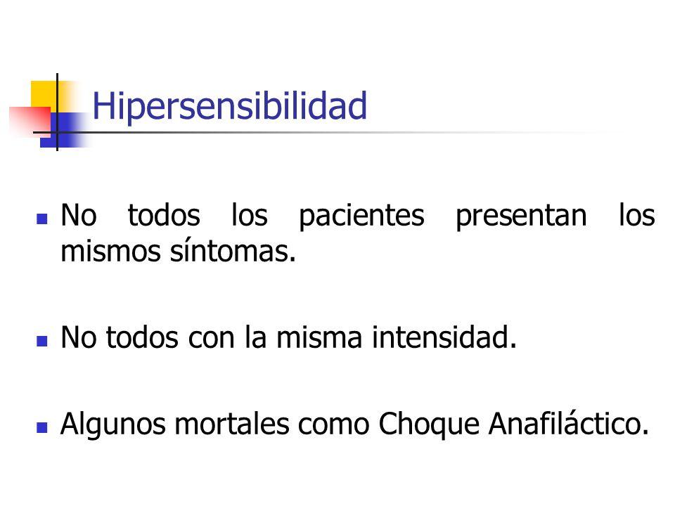 Hipersensibilidad No todos los pacientes presentan los mismos síntomas. No todos con la misma intensidad. Algunos mortales como Choque Anafiláctico.