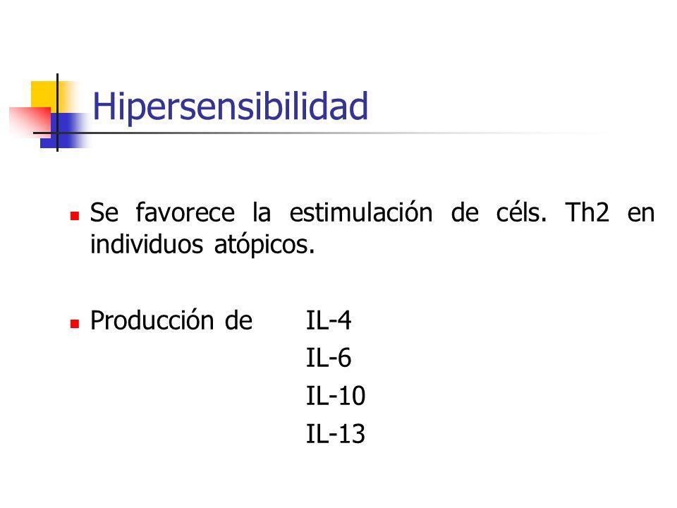 Hipersensibilidad Se favorece la estimulación de céls. Th2 en individuos atópicos. Producción deIL-4 IL-6 IL-10 IL-13