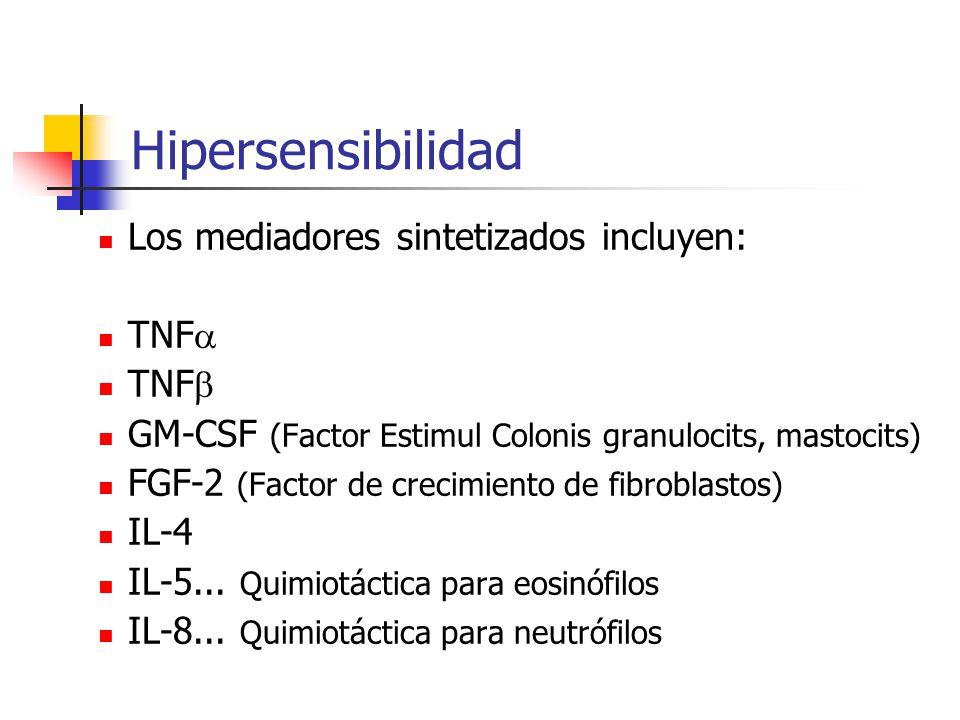 Hipersensibilidad Los mediadores sintetizados incluyen: TNF  TNF  GM-CSF (Factor Estimul Colonis granulocits, mastocits) FGF-2 (Factor de crecimient
