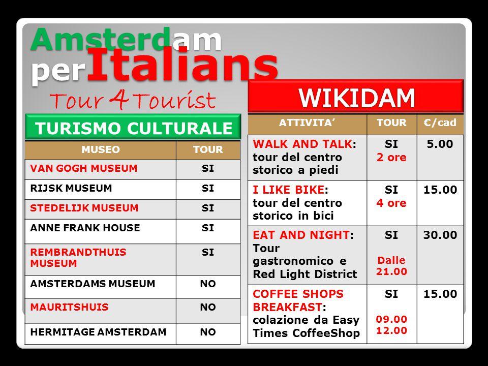 Amsterdam per Italians TURISMO CULTURALE MUSEOTOUR VAN GOGH MUSEUMSI RIJSK MUSEUMSI STEDELIJK MUSEUMSI ANNE FRANK HOUSESI REMBRANDTHUIS MUSEUM SI AMSTERDAMS MUSEUMNO MAURITSHUISNO HERMITAGE AMSTERDAMNO ATTIVITA'TOUR€/cad WALK AND TALK: tour del centro storico a piedi SI 2 ore 5.00 I LIKE BIKE: tour del centro storico in bici SI 4 ore 15.00 EAT AND NIGHT: Tour gastronomico e Red Light District SI Dalle 21.00 30.00 COFFEE SHOPS BREAKFAST: colazione da Easy Times CoffeeShop SI 09.00 12.00 15.00 Tour 4 Tourist